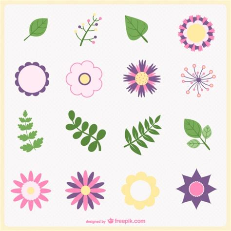 minimal flowers and leaves vector free vector download