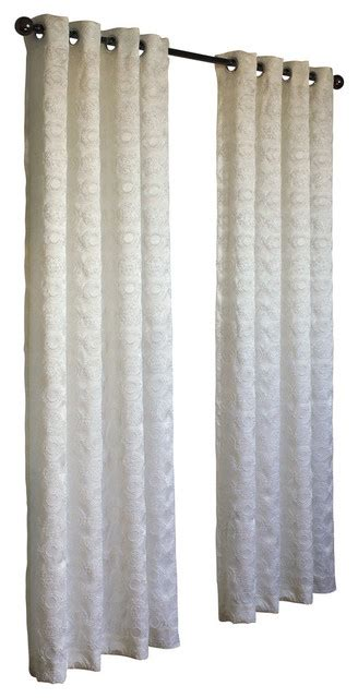 curtains with circles mayan contemporary fabric with raised embroidered circles