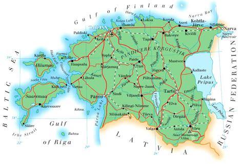 map of estonia maps of estonia detailed map of estonia in