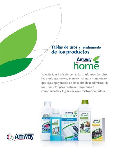 amway home tabla de usos y rendimientos