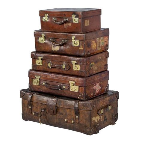 luggage trunks set of five antique leather luggage cabin trunks for sale