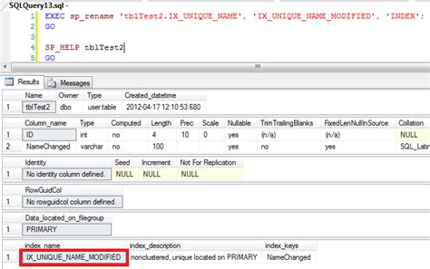 Tsql Rename Table by Rename Tables Columns Or Any Other Object In Sql