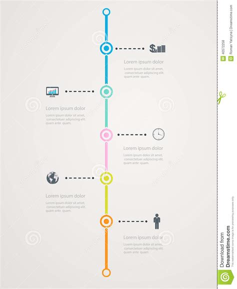 timeline infographic with business icons step structure