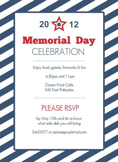 memorial day card templates memorial day invitations blue striped memorial day