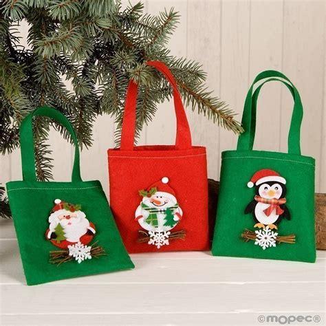 bolsas de dulces para navidad bolsa de fieltro con decoraci 243 n navide 241 a