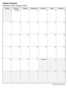 6 week calendar template 6 week calander new calendar template site