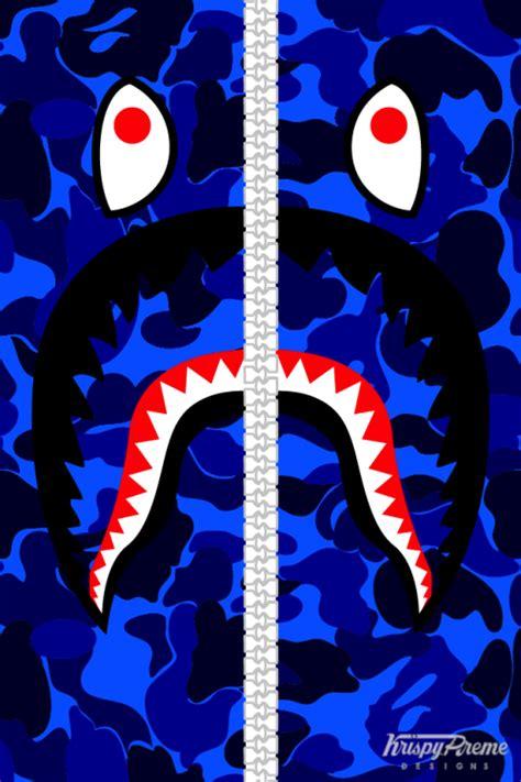 Iphone X Supreme Bape Shark Camo Pattern Cyan Hardcase bape shark wallpaper wallpapersafari