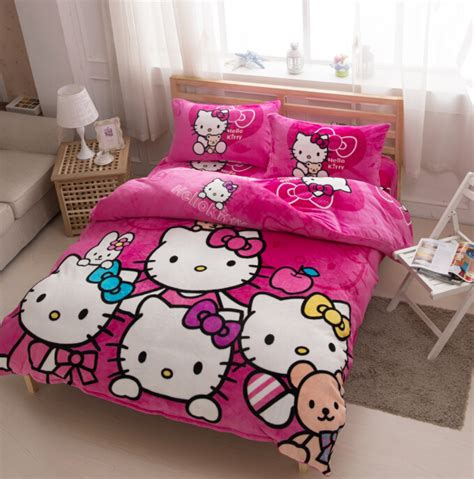 winter worm hello kitty bedding set twin full size velvet