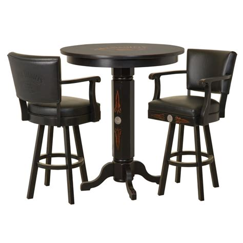 wood pub table backrest stool set tn