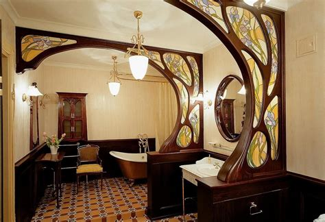 Superb One Way Mirror Bathroom #4: Fascinating-wooden-panel-in-art-nouveau-style-with-mosaic-glass-and-bright-lamps-decoartion-in-a-gorgeous-bathroom-interior.jpg