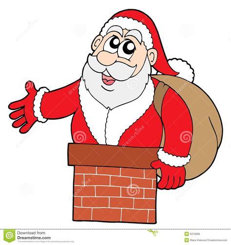 santa claus in chimney stock vector image of illustration