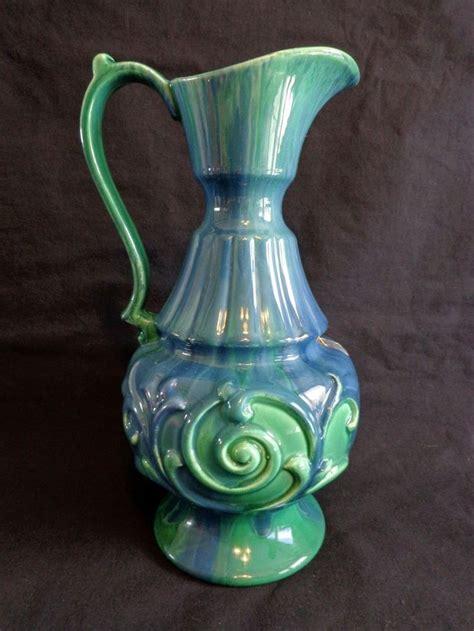 haeger pitcher vase ewer blue green 12 inch pottery