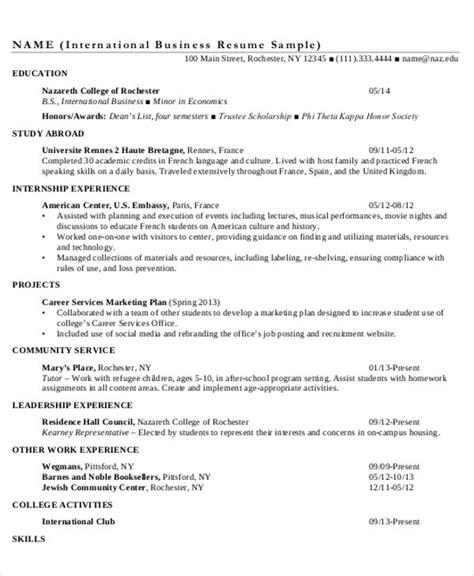international resume format 18 simple business resume templates free premium