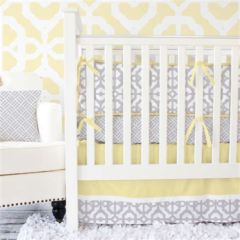 mod lattice crib bedding set in yellow and gray by caden