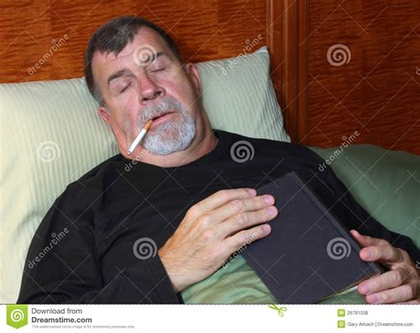 smoking in bed royalty free stock photos image 26781038