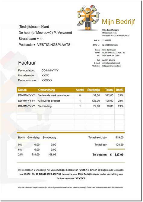 Voorbeeld Factuur Bouw voorbeelden factuur voor zzp in de bouw