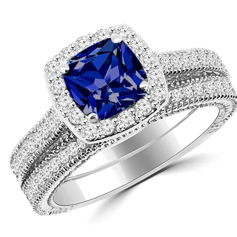cushion cut vintage style engagement rings cushion cut tanzanite halo engagement ring set