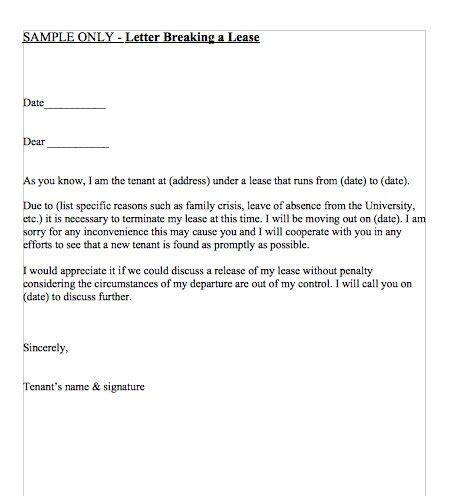 Breaking A Lease Agreement Letter 45 Eviction Notice Templates Lease Termination Letters