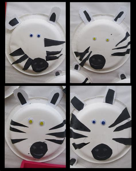 Zebra Paper Plate Craft - www rainbowswithinreach