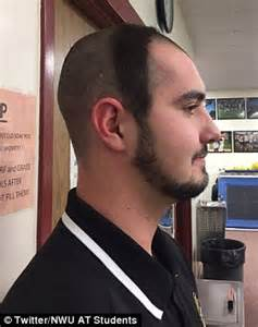 dome haircut nebraska wesleyan student shaves head into a dome strap