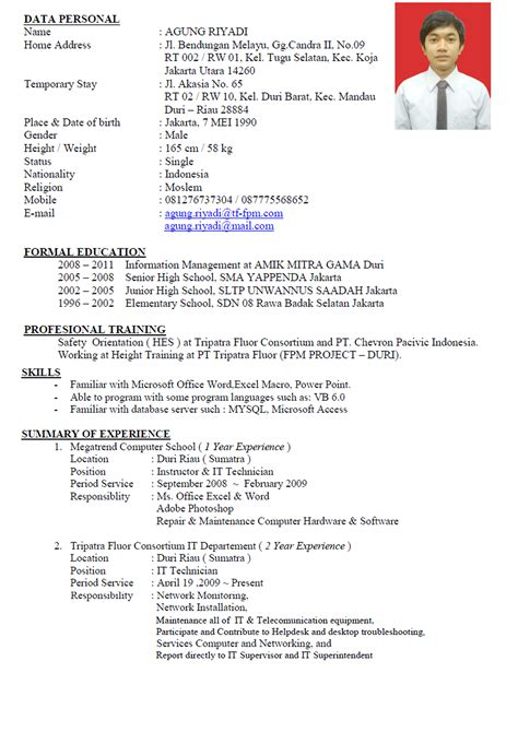 Curriculum Vitae In Word by Agung Riyadi Site Here Is My Personal Data
