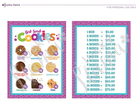 in color cookies in color price list 2018 girl scout cookie lanyard printable
