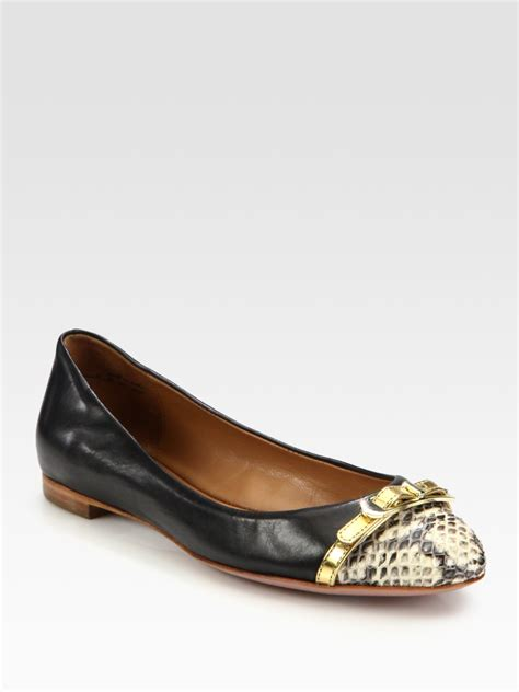 elie tahari shoes flats elie tahari gwen twotone leather and snakeembossed leather
