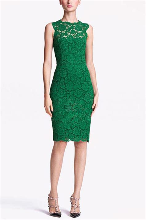 green sleeveless  bow accent lace dress