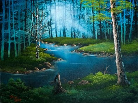bob ross paintings with acrylics bob ross forest river painting trees