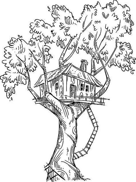 Mewarnai Gambar Rumah Pohon Keren - Kreasi Warna