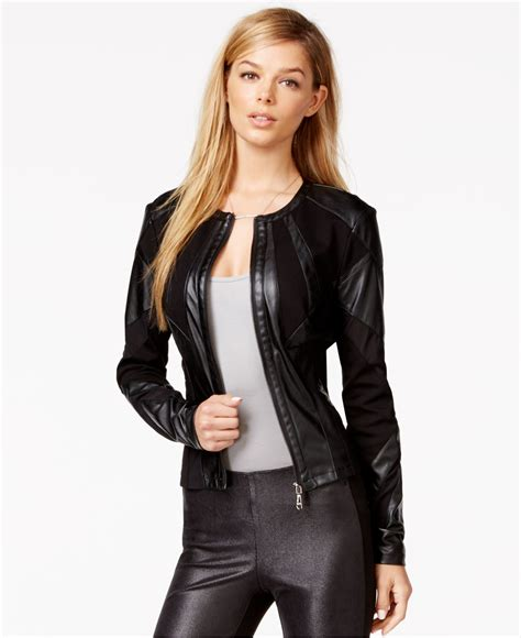 Guess 2015 Leather lyst guess faux leather mesh detail jacket in black
