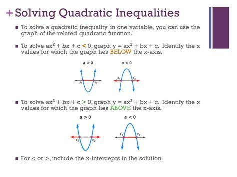 Quadratic Inequalities Worksheet by Functions Solving Quadratic Inequalities In One Variable