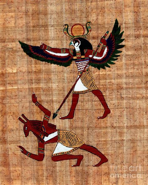 Ancient Egyptian Home Decor by Winged Horus Defeating Set Painting By Pet Serrano