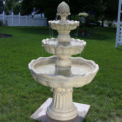 Ls Plus Outdoor Fountains by Sunnydaze 3 Tier Pineapple Garden Water Fountains