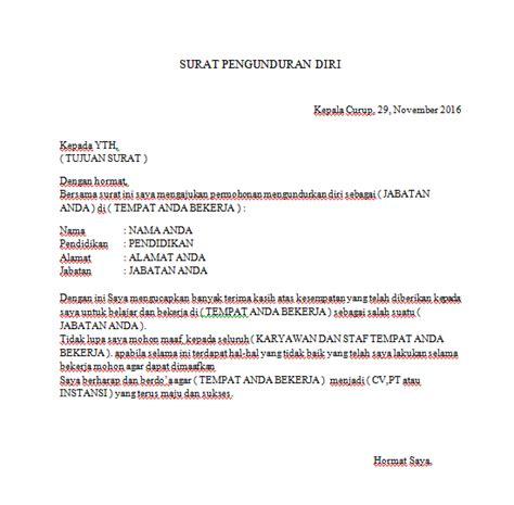 contoh surat pengunduran diri punya lembak