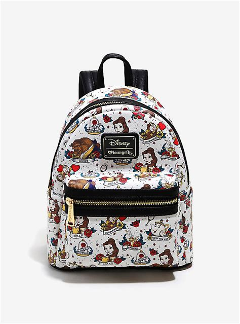 loungefly disney beauty and the beast allover tattoo print