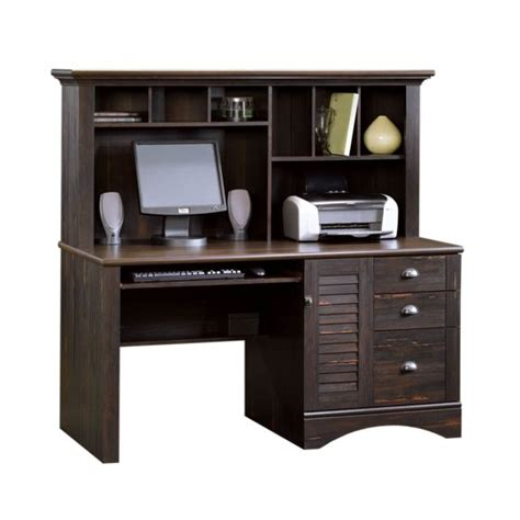 Harbor View Computer Desk With Hutch Sauder Harbor View Antiqued Paint Computer Desk W Hutch 401634