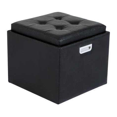 black leather storage ottoman with tray homcom 14 quot tufted square storage ottoman with tray black