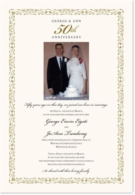 50th Wedding Anniversary Certificate   Renewal of Vows