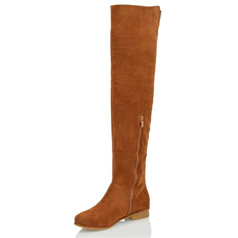 womens the knee high flat faux suede