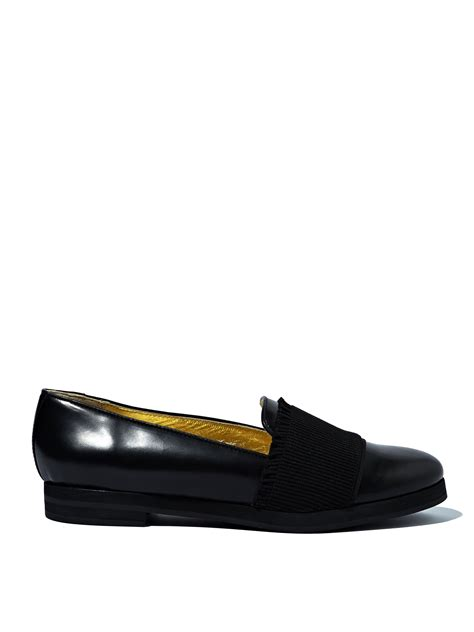 black loafers womens rykiel womens glazed calf leather loafers in black