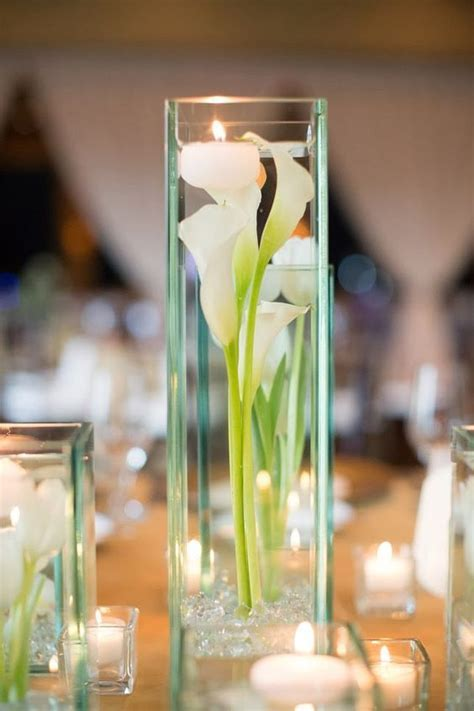 clear vase centerpieces ideas   calla lily centerpiece