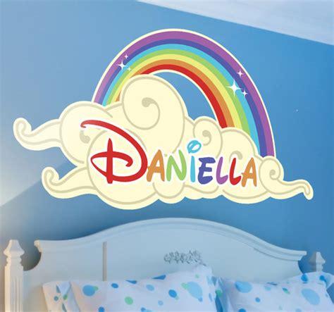 Girls Bedroom Wall Stickers kindersticker naam wolk regenboog tenstickers