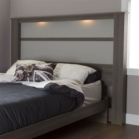 Bed With Lights In Headboard by South Shore Gloria King Headboard 78 Quot With Lights Gray