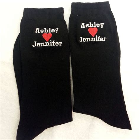mens personalised socks personalise with 2 names with a