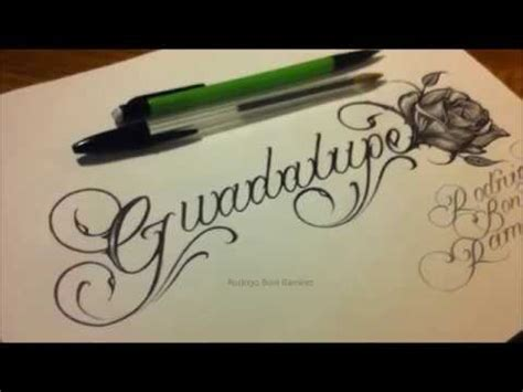 tattoo lettering youtube custom chicano cursive tattoo lettering guadalupe and rose