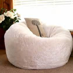 large round bean bag cloud chair lounger white luxury faux fur soft beanbag new ebay