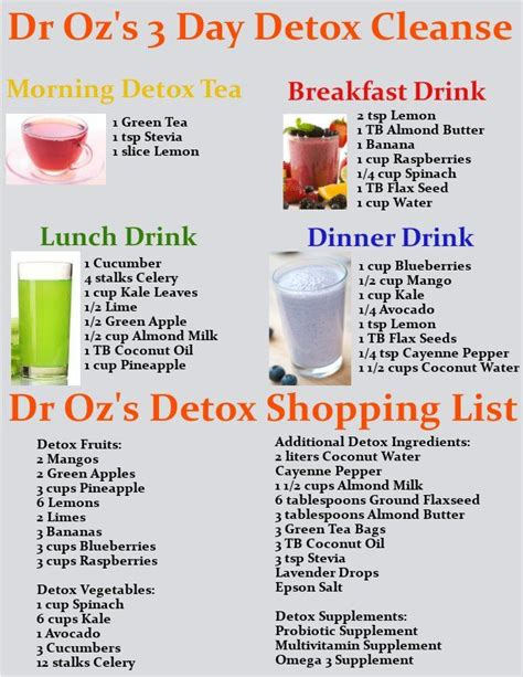 Dr Oz 3 Day Detox Diet Shopping List get dr oz s 3 day detox cleanse drink recipes and a
