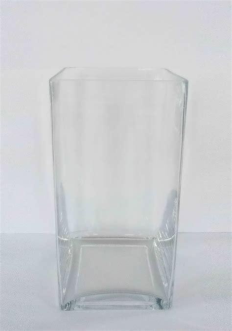 large glass square vase clear