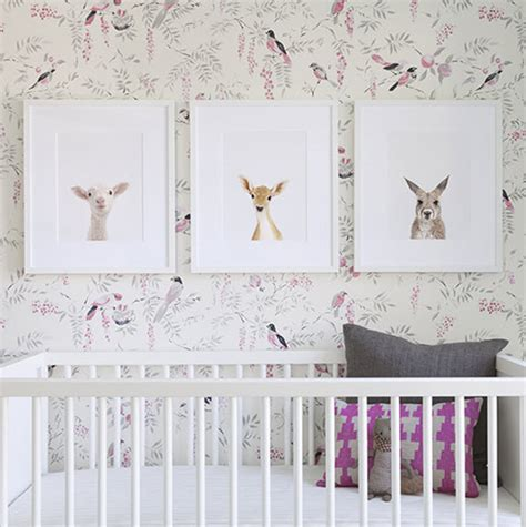 girls nursery bird wallpaper the animal print shop
